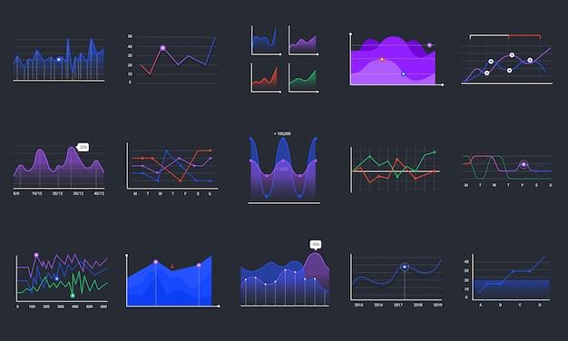 Lineare graphcharts. satz von geschäftsgrafiken, liniendiagrammen und geschäftsinfografiken. überwachung der finanziellen vermögenswerte. investition, die bunte histogramme auf schwarzem hintergrund analysiert