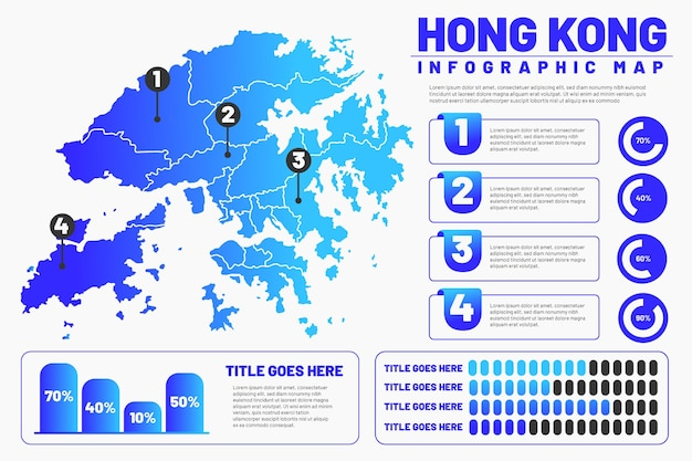 Lineare hong kong karte infografik