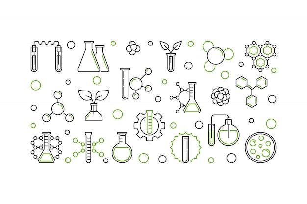 Lineare illustration des chemievektorkonzeptes oder horizontale fahne