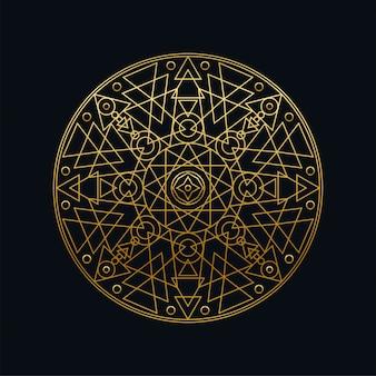 Lineare illustration des geometrischen mandalas der goldenen tinte