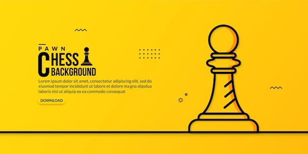 Lineare illustration des schachbauern auf gelb