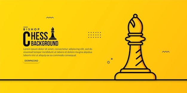 Lineare illustration des schachbischofs auf gelb