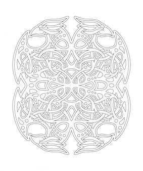 Lineare komposition für malbuch mit vogelköpfen