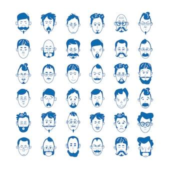 Lineare männer mit bärten und schnurrbärten mit brille und glatze. charakterkonzept avatar und emoji. vektorillustration der blauen symbole im flachen linienstil