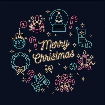 Lineare neon-design-weihnachtsgrußkarte auf dunklem hintergrund. typografie und symbole für den weihnachtshintergrund, banner oder poster und andere ausdrucke.