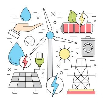 Lineare ökologie und erneuerbare energie vektorelemente