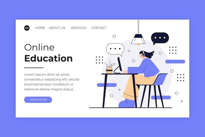 Lineare online-lern-landingpage mit flachem design