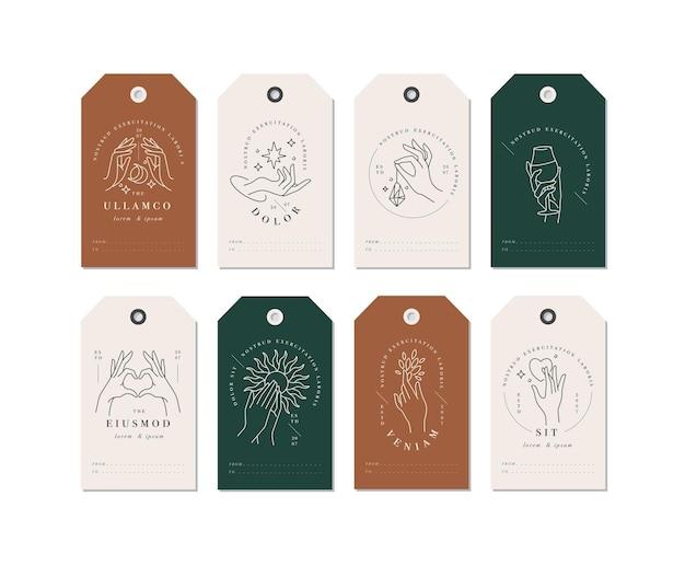 Lineare schablonenlogos oder embleme - hände in verschiedenen gesten, die auf tags abgebildet sind.