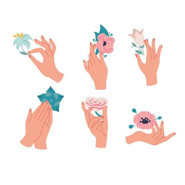 Lineare schablonenlogos oder embleme - hände in verschiedenen gesten mit blumen.