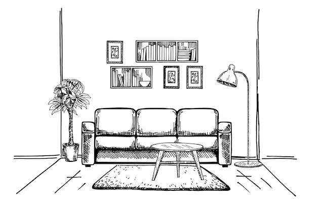 Lineare skizze einer handgezeichneten innenillustration