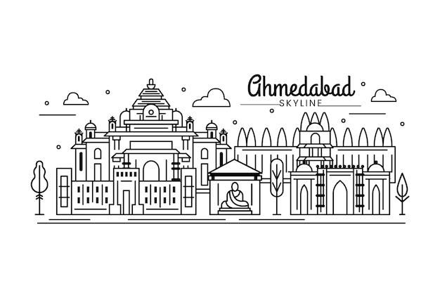 Lineare skyline von ahmedabad und wolken