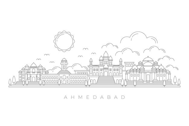 Lineare skyline von ahmedabad