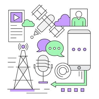 Lineare social media und marketing icons