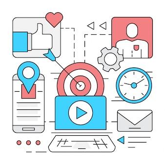 Lineare social media vector elemente Kostenlosen Vektoren