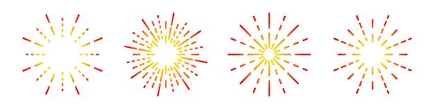 Lineare symbole für feuerwerkskörper festgelegt. rundes sunburst-symbol. illustration. flaches symbol für feuerwerk