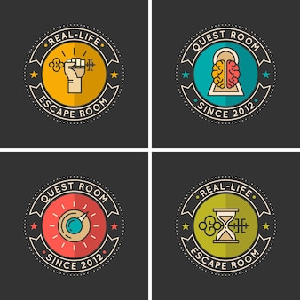 Lineare symbole und logo für die suche und raumflucht.