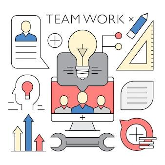 Lineare teamarbeit und business vector elements Kostenlosen Vektoren