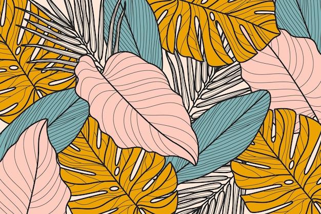 Lineare tropische blätter mit pastellfarbenem hintergrund