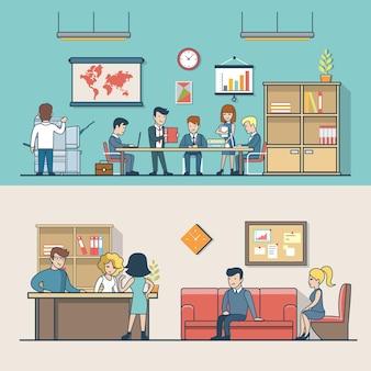 Lineare wohnung geschäftsleute am arbeitsplatz, kunden warten an der rezeption. geschäftsmann, sekretär, manager, kundencharaktere. bürolebenskonzept.