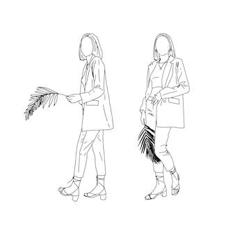 Lineare zeichnung von geschäftsmädchen mit palmzweig. vektorillustration.