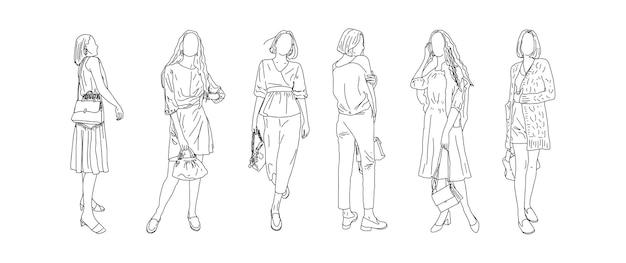 Lineare zeichnung von mädchen, die verschiedene modelle von taschen annoncieren. vektorillustration.