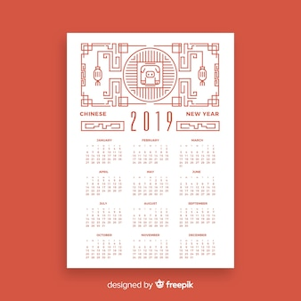 Linearer chinesischer kalender für das neue jahr