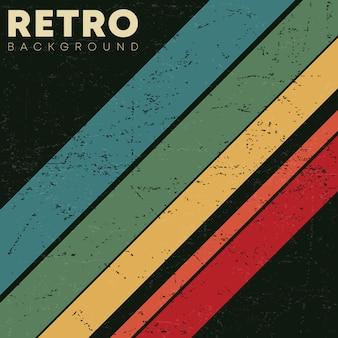Linearer hintergrund mit retro grunge textur und vintage farbigen streifen. vektorillustration