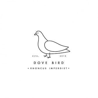 Linearer logo-taubenvogel auf weißem hintergrund. taubenbunte embleme oder abzeichen.