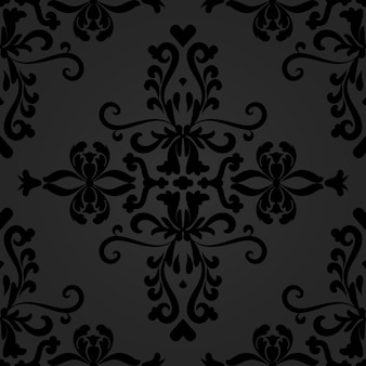 Linearer schwarzer damast nahtloses vektormuster