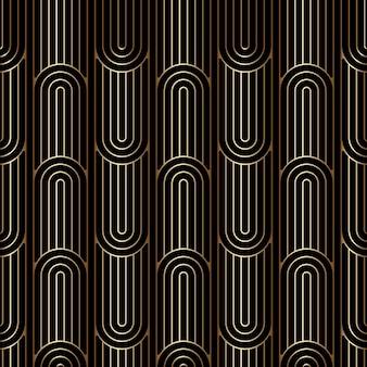 Lineares art-deco-muster, nahtloser goldener hintergrund
