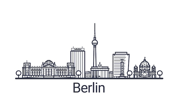 Lineares banner der stadt berlin. alle berliner gebäude - anpassbare objekte mit deckkraftmaske, sodass sie komposition und hintergrundfüllung einfach ändern können. strichzeichnungen.