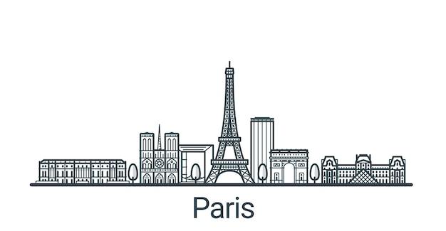 Lineares banner der stadt paris. alle gebäude