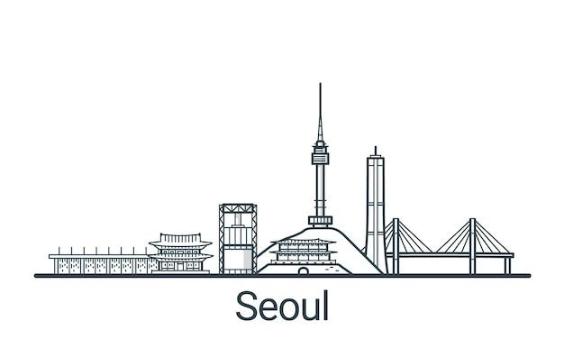Lineares banner der stadt seoul in der hand gezeichnet