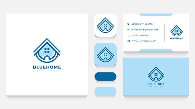 Lineares blaues haus logo vorlage und visitenkarte