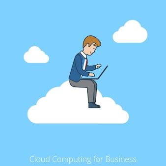 Lineares cloud computing im flat-line-art-stil für das geschäftskonzept. sitzende wolke des geschäftsmannarbeitslaptops.
