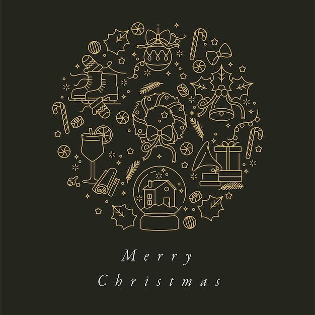 Lineares design für weihnachtsgrußkarte bunt