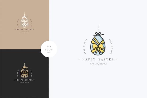 Lineares design ostergruß elemente. frohe ostern typografie set symbol. frühlingsferien-gestaltungselemente.