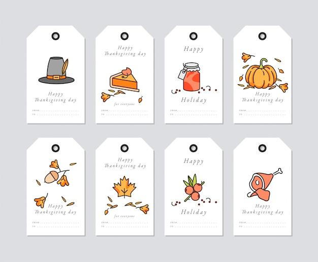 Lineares design thanksgiving day grußkarte. thanksgiving-feiertagsanhänger mit typografie und buntem symbol eingestellt.