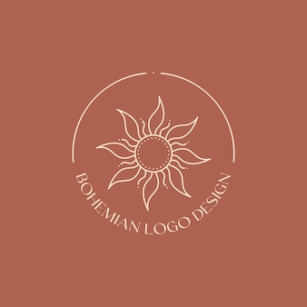Lineares emblem des vektors. böhmisches logo-design mit sonne und sunburst. modernes boho-symbol oder symbol im trendigen minimalistischen stil. branding-design-vorlage.