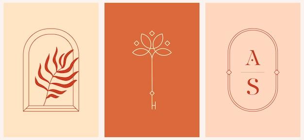 Lineares fenster des vektordesigns mit palmblatt- und schlüsselschablonenlogoschablonen im trendigen linearen minimalstil. himmlische und magische abstrakte.