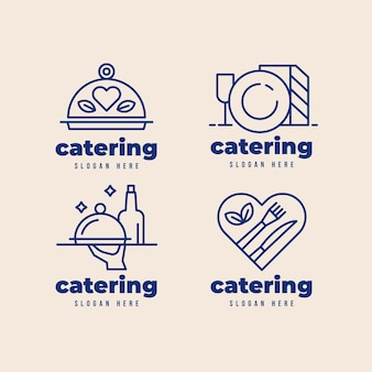 Lineares flaches catering-logo-paket