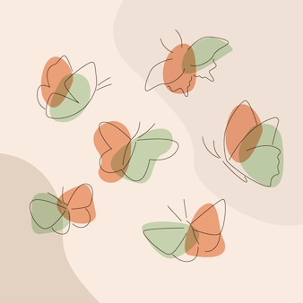 Lineares flaches schmetterlings-umrisspaket