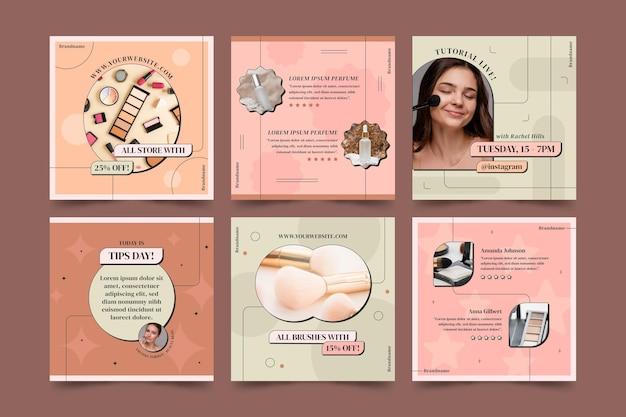 Lineares flaches schönheits-instagram-postpaket