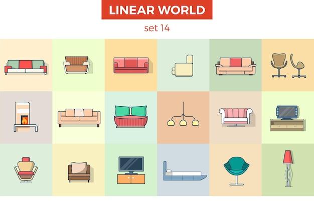 Lineares flaches wohnzimmermöbel-set einrichtungskonzept sofa couchlampe tv