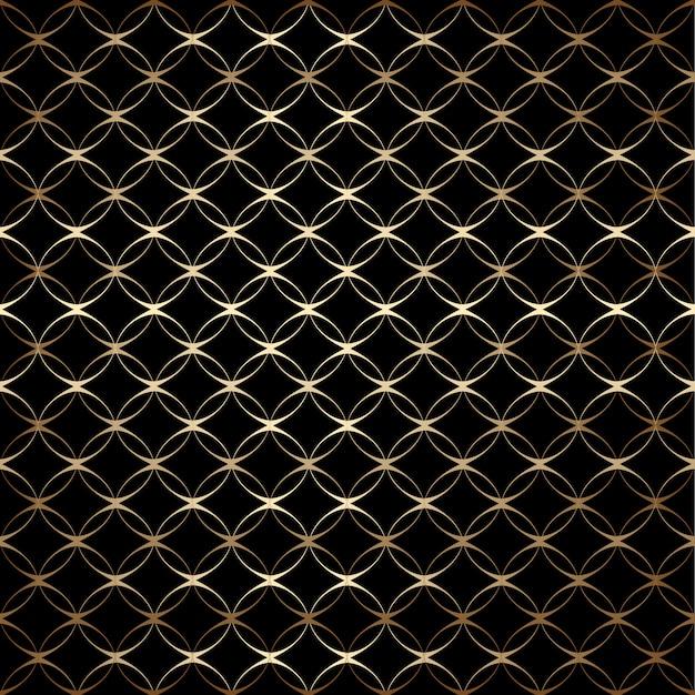 Lineares goldenes art-deco-muster ohne naht mit kreisen, schwarz und gold