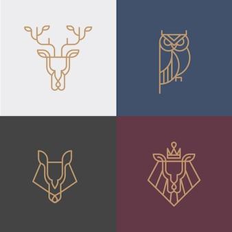 Lineares hipster tier logo Premium Vektoren