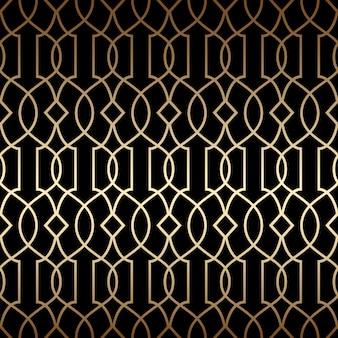 Lineares nahtloses muster im goldenen art-deco-stil, schwarz- und goldfarben