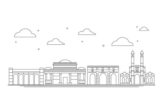 Lineares skyline-thema von ahmedabad