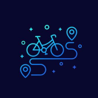 Lineares symbol für fahrrad und route