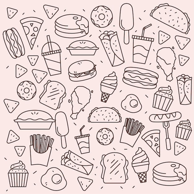 Lineart fastfood-muster